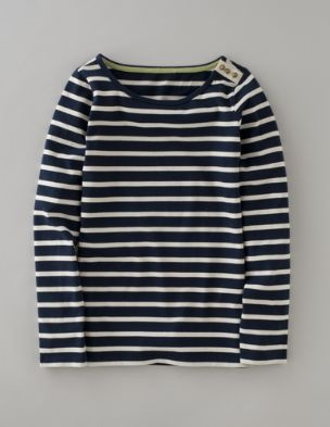 Breton.  Navy & Vanilla with canvas and brass buttons on the shoulder.  Love it!  Boden.