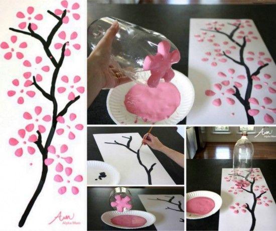 Soda Bottle Cherry Blossom Painting
