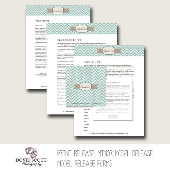Photography Forms Templates : Print Release, Model Release, Minor