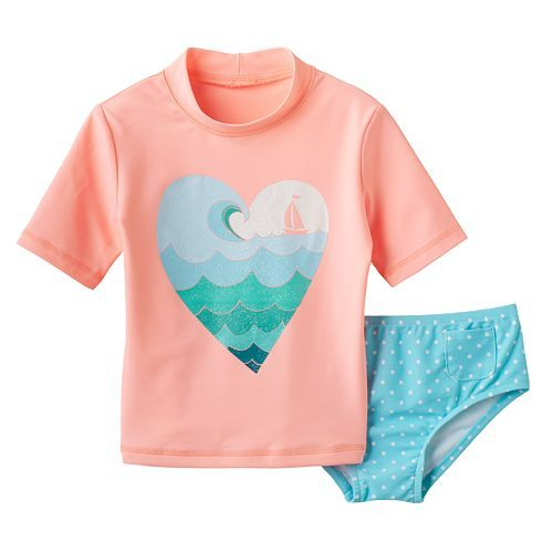 Infant Girl Swimsuits With Rash Guard