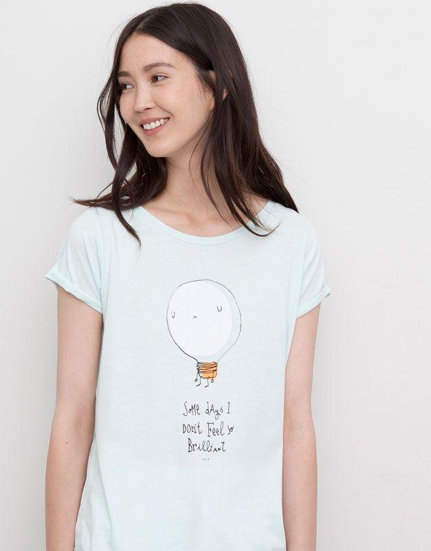 Pull&Bear - femme - t-shirts et tops - t-shirt imprimé «brilliant» - vert eau - 05242300-I2015