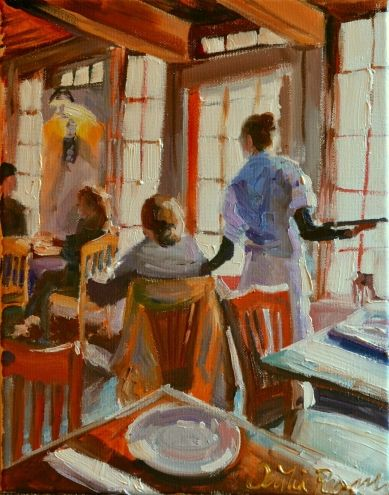 CAFE RUSTICA LUNCHEON, painting by artist CECILIA ROSSLEE