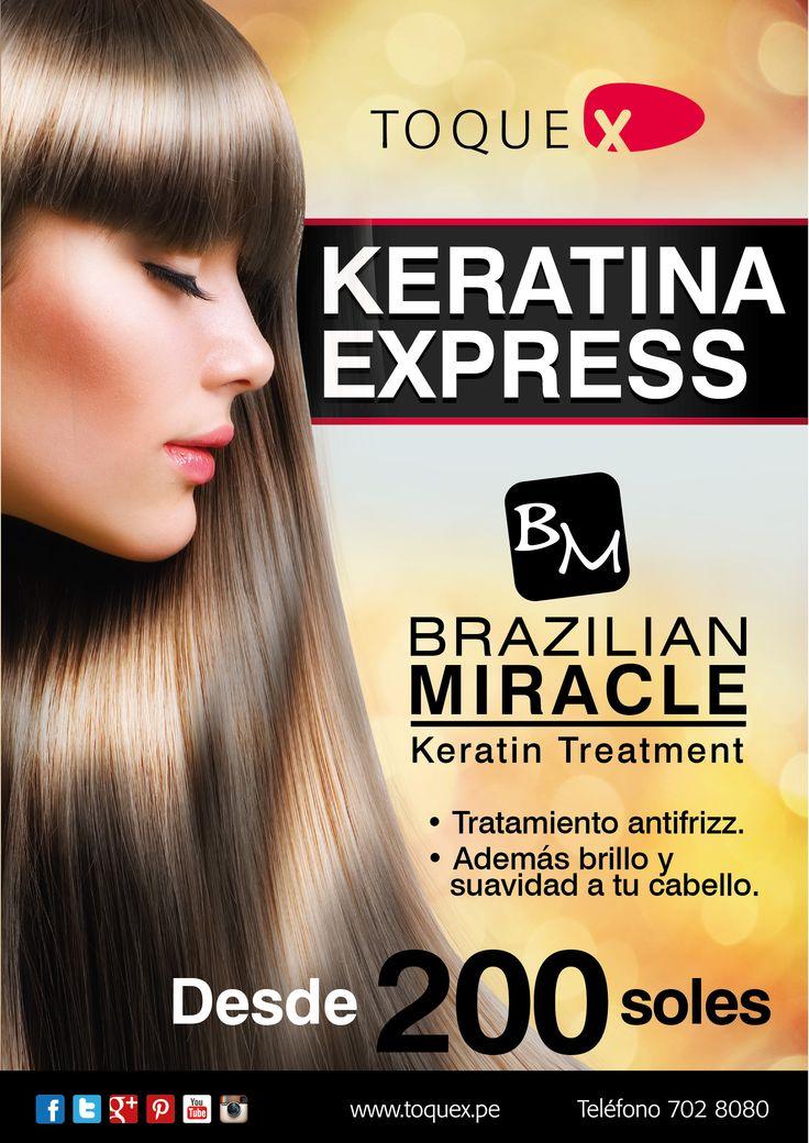 Keratina Express es el tratamiento en base a keratina de chocolate que además de elimiar el frizz de tu cabello, le brinda brillo y suavidad  y a un precio insuperable.