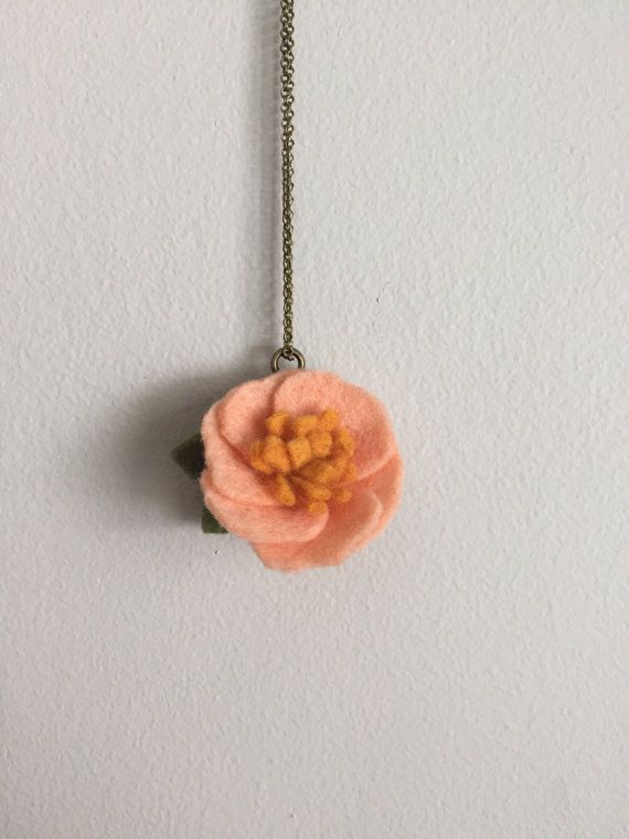 tiny coral peony wool felt flower pendant by shopgoldenafternoon