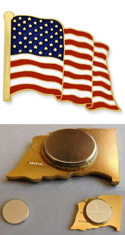 USA U.S.A. U.S. US American Flag Pin MAGNETIC Backing Patriotic, Lapel, Hat Pin