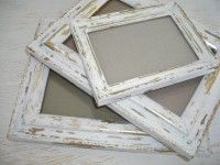 creamy white and gold distressed picture frames