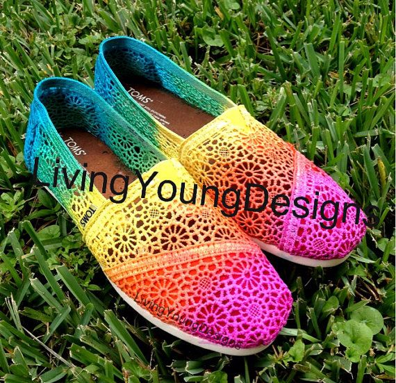 Tie Dye TOMS Crochet Rainbow Ombre Toms by LivingYoungDesigns, $95.00