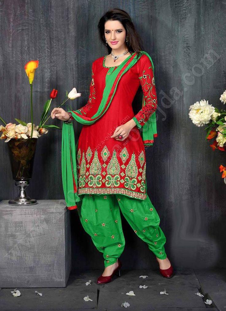 Красный камис (камиз)   зелёные брюки фасона патиала   дупатта