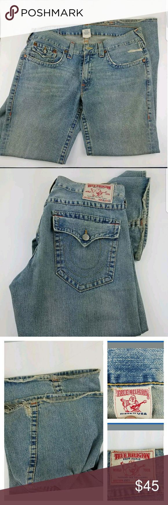 TRUE RELIGION Men's JOEY BIG T 36 x 33 Bootcut Up for sale is TRUE RELIGION Men's JOEY BIG T 36 x 33 Medium Vintage Bootcut Super TR Jeans? Please check last picture for measurements. There are some wear on the hems please look at all the pictures. True Religion Jeans Bootcut