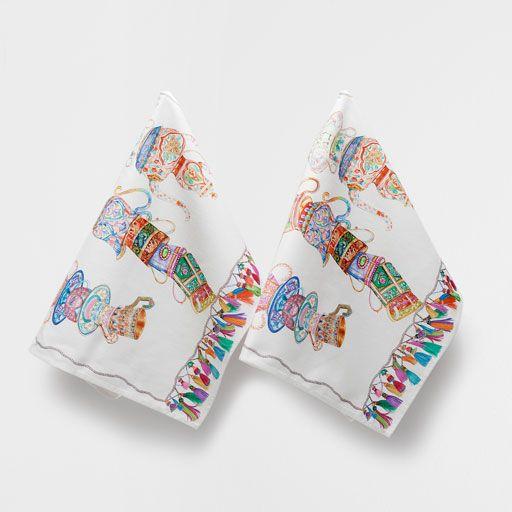 linge de lit coton imprim cuisine serviettes et torchons. Black Bedroom Furniture Sets. Home Design Ideas