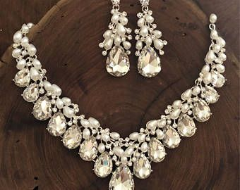 Rhinestone and pearl necklace set, pearl ams rhinestone necklace and earrings, bridal necklace set, bridal pearl and rhinestone necklace
