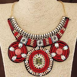Women Beads Choker Necklace, Blue, Red, Green, Pink, Black