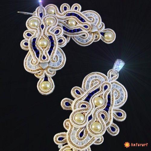 Chabrowa biel, komplet biżuterii sutasz - Biżuteria ślubna - Biżuteria srebrna