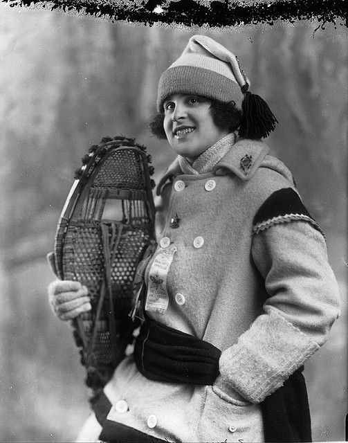 Miss Estelle Doray, snowshoer, Montreal, QC, 1924. #vintage #1920s #winter #Canada