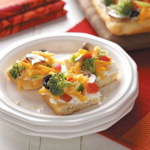 Vegetable Appetizer Pizza. You can use any vegetables. I did red onion, broccoli, cauliflower & shaved carrots with 2 (8oz) cream cheese & 1/2 cup Miracle Whip