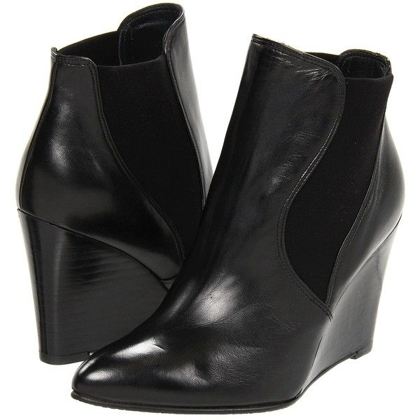 Stuart Weitzman Fjord (Black Nappa Leather) Women's Boots ($297) ❤ liked on Polyvore featuring shoes, boots, ankle boots, black, wedge heel boots, black wedge shoes, short wedge boots and stuart weitzman boots