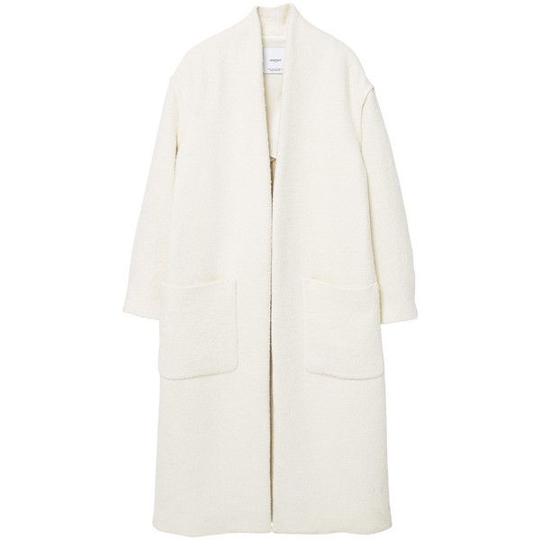Cotton Wool-Blend Coat (997.140 IDR) ❤ liked on Polyvore featuring outerwear, coats, jackets, tops, long white coat, long coat, long sleeve coat, white coat and mango coat