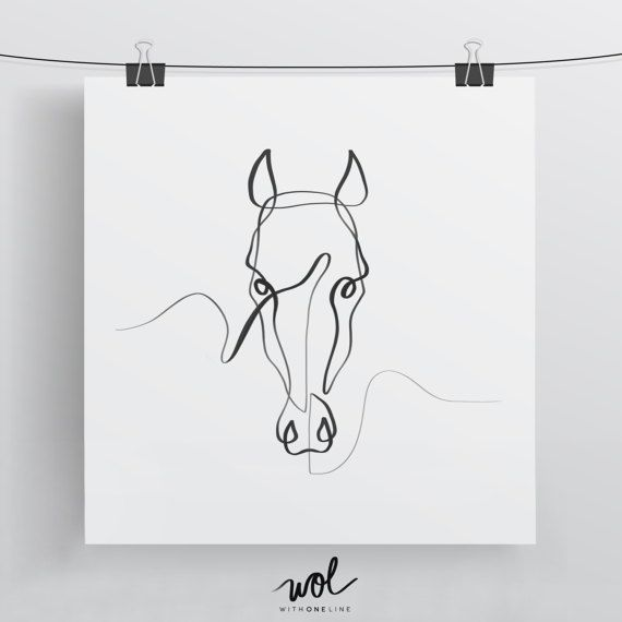 Horse Wall Art, Horse Art Print, Horse Gift Ideas, Abstract Art Print, Minimal Wall Art, Equine Art, Single Line Art, Black and White Art – Sara Behn