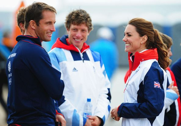 Catherine, Duchess of Cambridge meets Finn class gold medal winner Ben Ainslie of Great Britain on Day 10 of the London 2012 Olympic Games at the Weymouth & Portland Venue at Weymouth Harbour on August 6, 2012 in Weymouth, England.