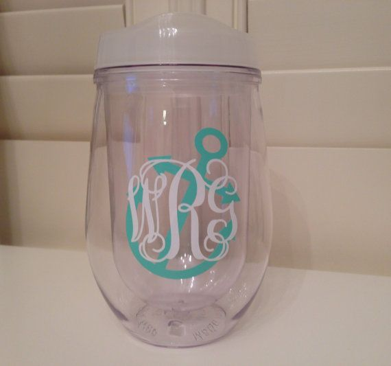Monogrammed bev2go stemless wineglasses double wall insulated acrylic with your custom - Insulated stemless wine glasses ...