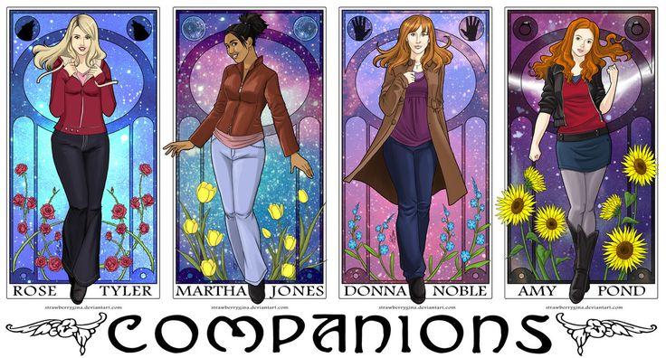 Doctor Who companions art nouveau style