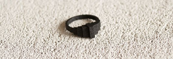 Geometric Matte Black Steel Ring. 3D printed unique by MBDdesign