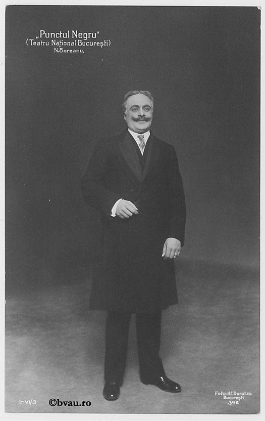 """N. Soreanu în """"Punctul negru"""", Bucureşti. Imagine din colecțiile Bibliotecii """"V.A. Urechia"""" Galați."""