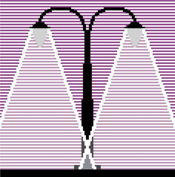 Beautiful minimalist cross stitch design of old fashioned street lights by CrossStitchtheLine