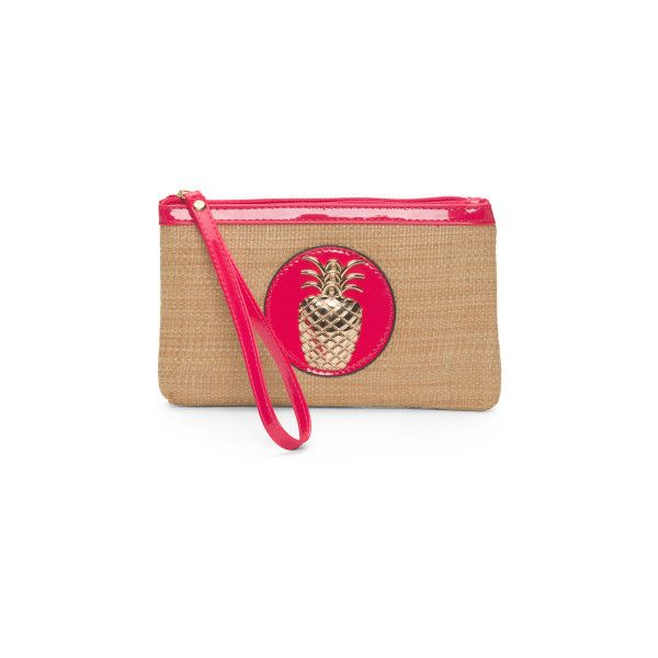Straw Wristlet With Pineapple Detail ($13) ? liked on Polyvore featuring  bags, handbags