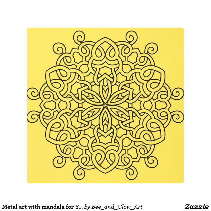 Metal art with mandala for Yoga rooms