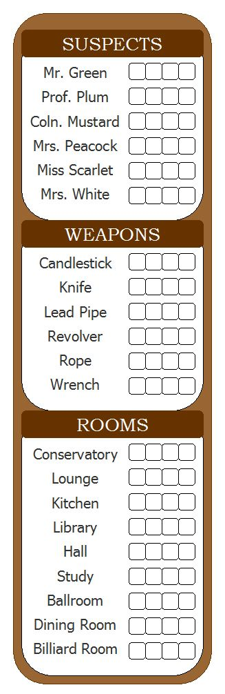 Handy, for when you need to play Clue and are out of the scorecards. Or if you have big handwriting or need to take LOTS of notes.