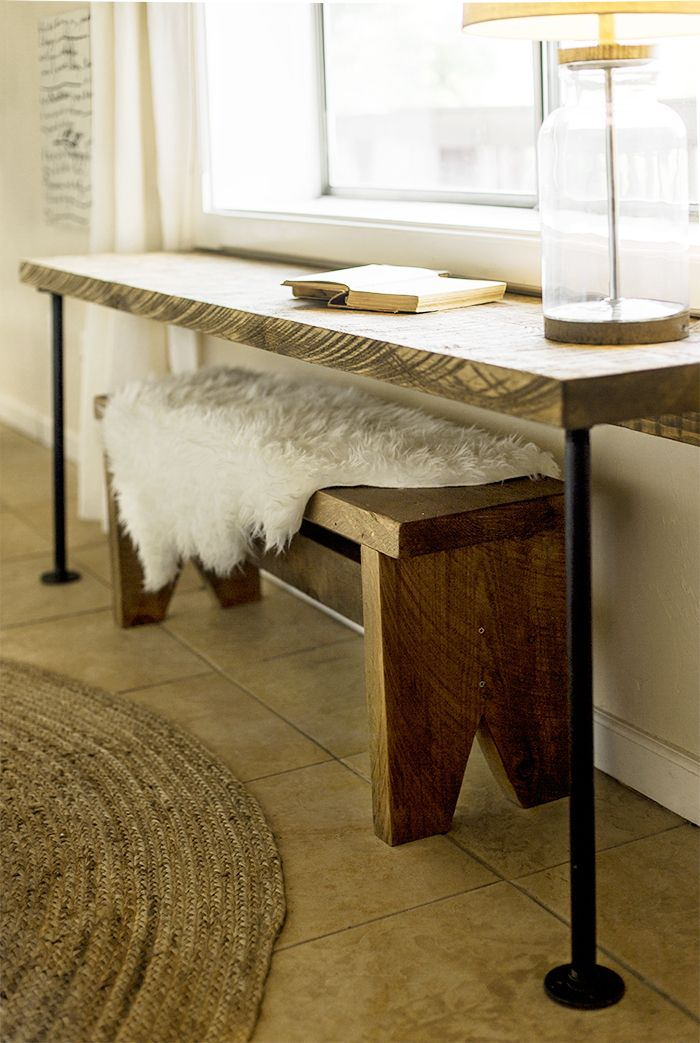 DIY Pipe Leg Desk & Rustic Wood Bench Tutorial | Jenna Sue Design Blog