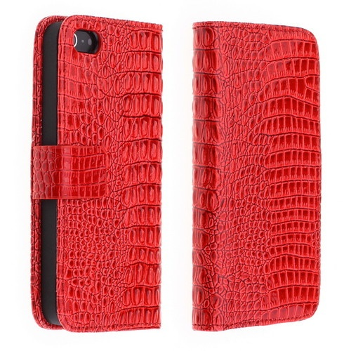Crocodile Flip PU Leather Wallet Case Cover Skin for iPhone 5 5G Gen Red - USD $ 9.28