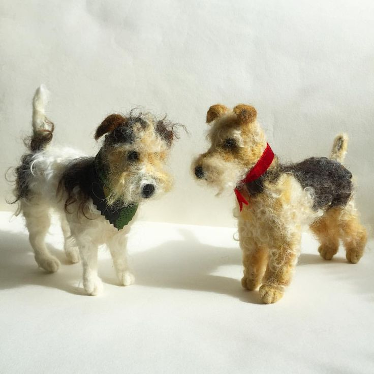 Needle felted Terrier & Airdale dogs by Emma Herian