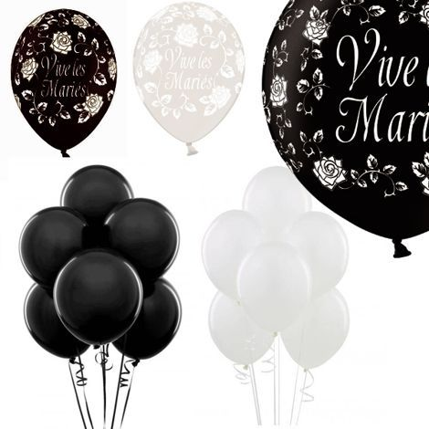 Kit ballons mariage noir et blanc