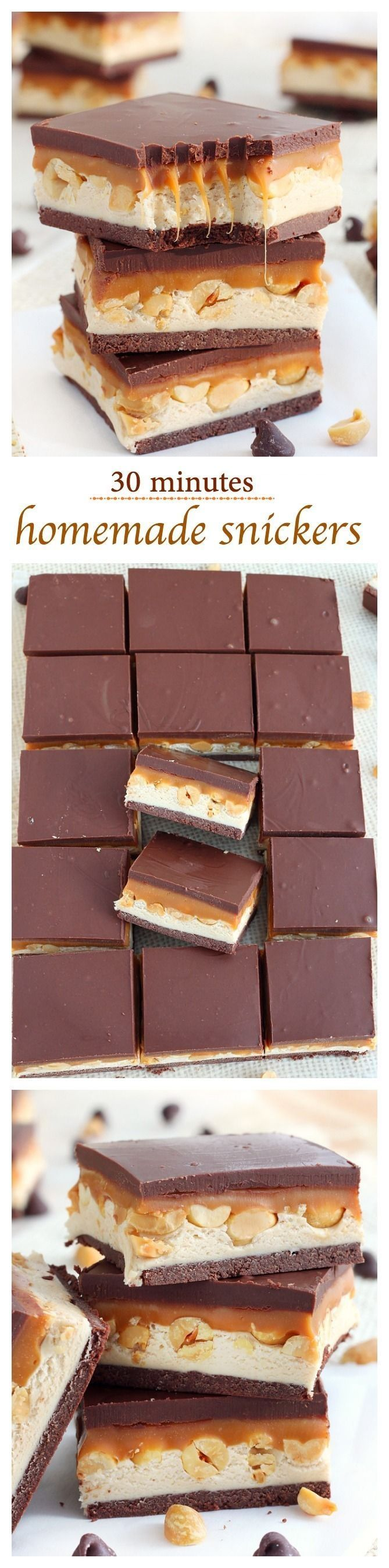 Homemade snickers bars! Nougat, peanuts and caramel sandwiched between two chocolate layers, these homemade snickers bars come together in 30 minutes tops! Faster than going to the store to buy some!