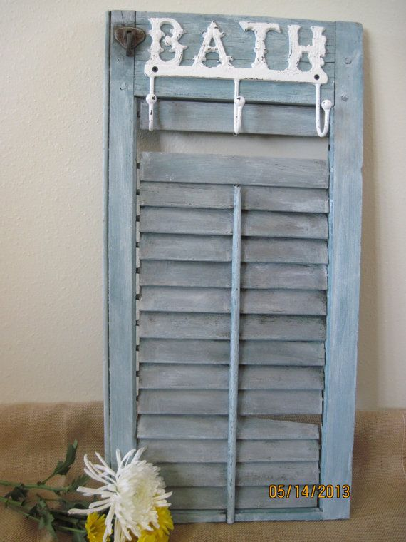 Rustic Wood Shutter With Bath Hooks Wall Decor Volets