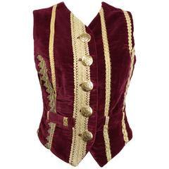 Dolce and Gabbana Maroon Lucia Embroidered Gold Trim Velvet Vest