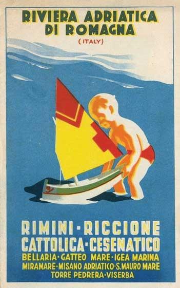 Vintage Italian Travel Poster: Riviera Adriatica di Romagna, Italy