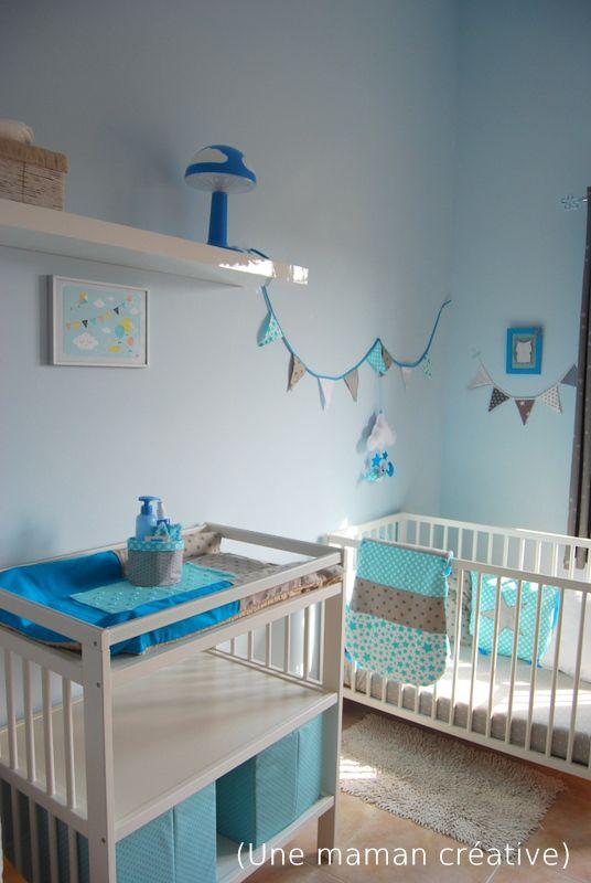 Chambre Bleu Canard Deco : DSC1234  chambre bébé gris bleu  Pinterest