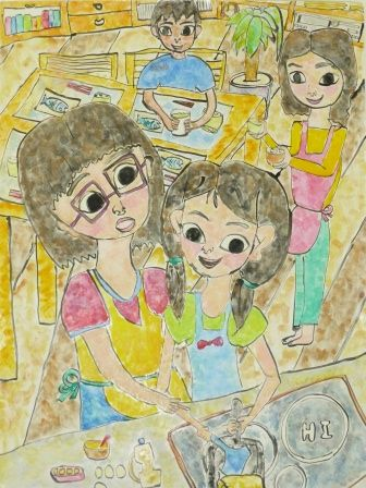 """Honoka Kashihara Kagoshima Prefecture Japan 3rd grade elementary school student This painting is titled """"I Made Fried Egg With My Big Sister"""". This painting suggests that Honoka is beginning to understand perspective in that the two people in the foreground are larger than the two people in the background. The painting is also very detailed and suggests that Honoka spent a lot of time making it."""