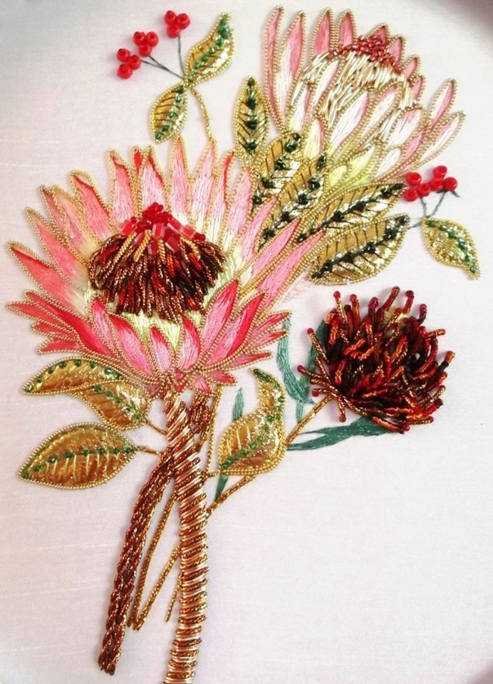 This exquisite rendering of a protea blossom in goldwork and silk embroidery. It's an Irene Junkuhn design. To see more of Irene's work, check http://www.rajmahal.com.au/products.php?product=Regal-Protea