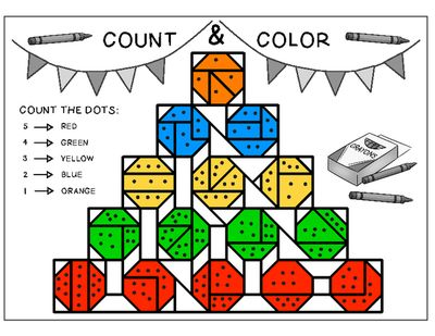 PreK and K coloring math - numbers 1 to 5 from Eleonora on TeachersNotebook.com (19 pages)
