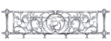 Эскиз ограждения французского балкона. Художественное литье. дизайнер портфолио дизайнера \ Графический дизайнер