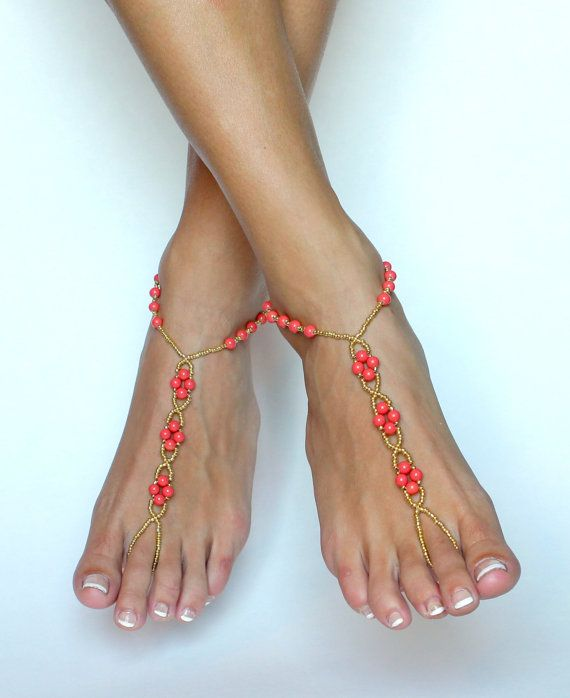 These barefoot sandals were handcrafted from using gold seed beads and bright coral pearl-like beads. Simple design attracts attention and looks