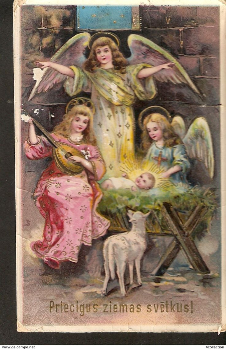 Old EAS Import Old Christmas New Year posted postcard 1920s Angels Singing Angel Engel Lamb Jesus Birth gilded gold embossed