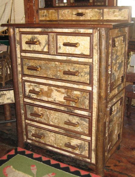 This Adirondack Tall Chest Features Twig Legs And Lots Of Natural Twig Trim  And Birch Bark