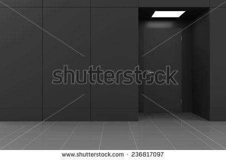 Empty Hall Interior with Opened Door in Modern Business Center. 3D Rendering - stock photo