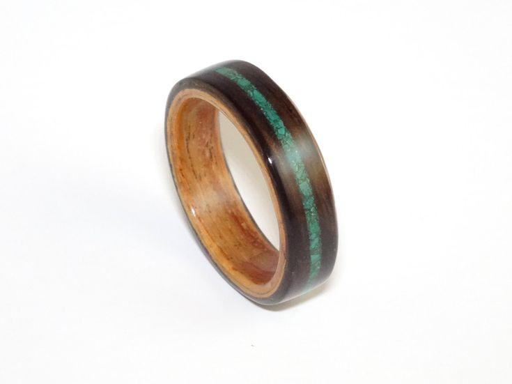Bent Wood Ring, Ebony & Padauk with Malachite Inlay, Mens Wood Ring, Womens Wood  Ring, Wood Engagement Ring, Wood Wedding Band, Wooden Ring
