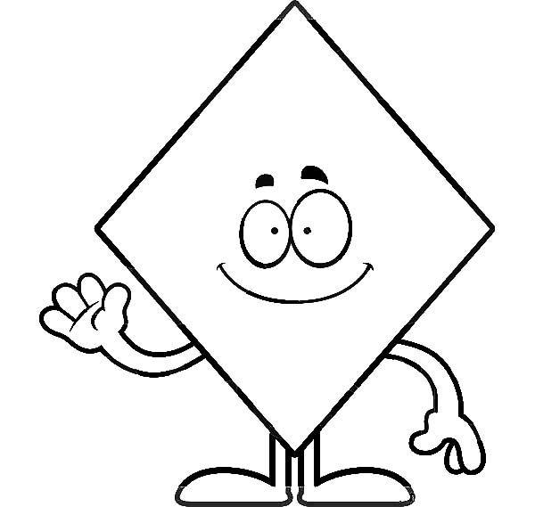 Diamond Shape Diamond Shape Waving Hand Coloring Pages Shape Coloring Pages Printable Shapes Coloring Pages